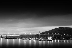Norway night bridge with lights background