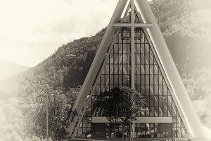 Vertical Tromso temple sepia background