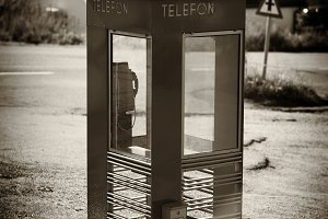 Vertical Norway telephone booth with light leak backdrop