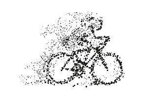 A cyclist rides a bicycle particle divergent silhouette. Vector on white background