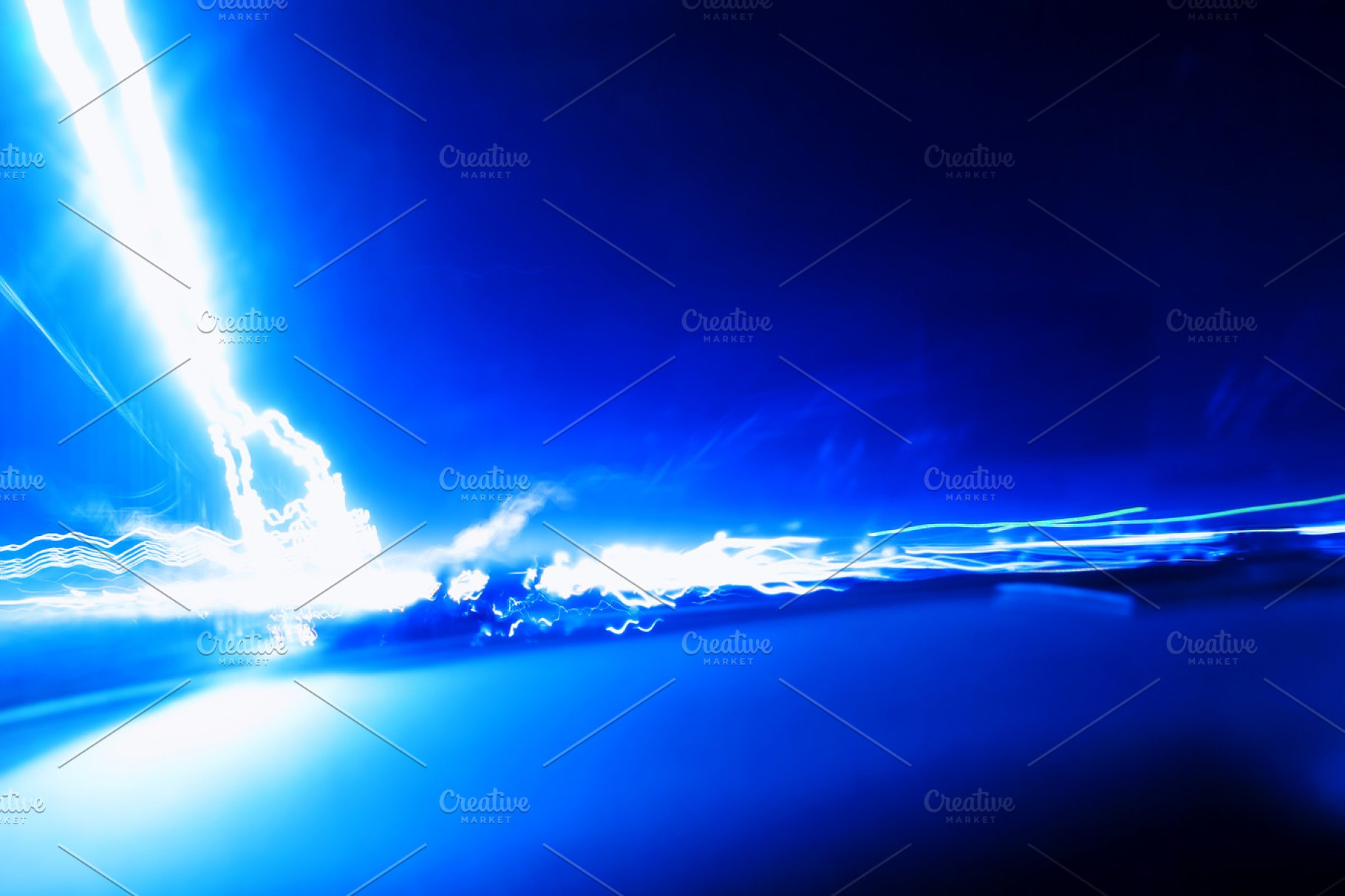 Horizontal Vivid Blue Lightning Blank Abstract Background