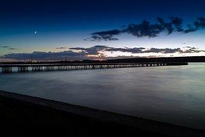 Horizontal vivid vibrant sunset pier dock background backdrop