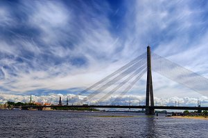 Panorama of Riga in summer day