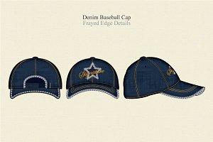 Denim Baseball Cap Vector