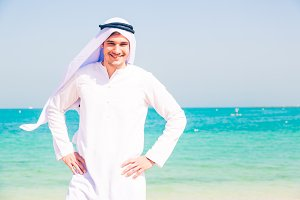 Young Arabian Man On The Beach