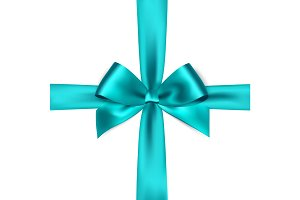 Shiny blue satin ribbon on white background