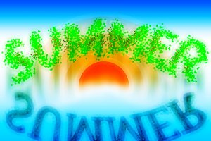 Summer word with water reflection illustration