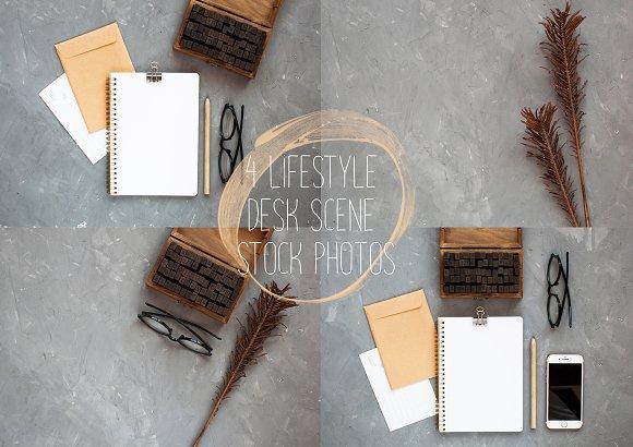 Pack Of 4 Desk Scene Photos