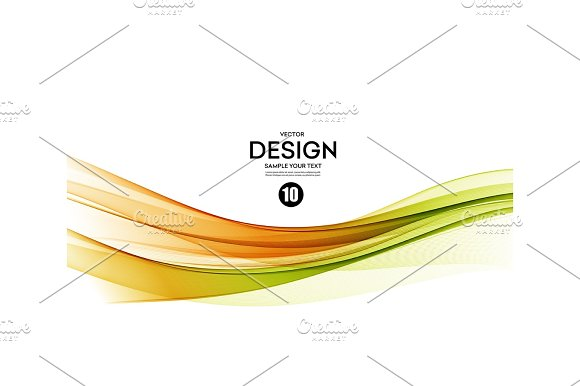 Abstract Vector Background Green And Orange Wavy