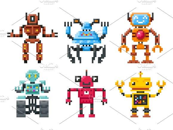 Pixel Robots Icons