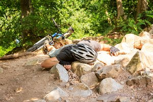 Young Mountain Biker Fallen Off His Bike