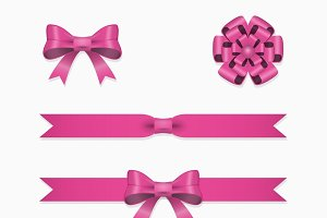 Pink ribbon set for gift box