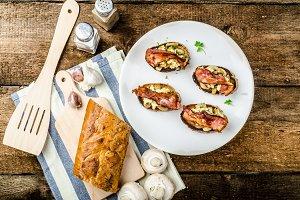 Rustic breakfast - bread toast, mushrooms, eggs