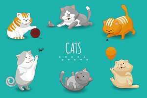 Cute kittens vector illustration
