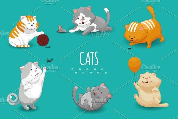 Cute Kittens Vector Illustration
