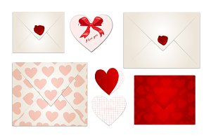 set of Valentine's Day letters