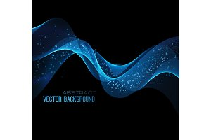Vector illustration abstract background blue  blurred magic neon light curved lines
