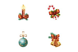 Christmas elements icons set