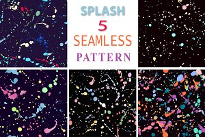 5 vector splatter seamless patterns