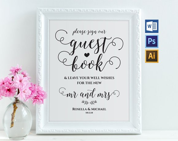 guest book sign template wpc265 invitation templates creative market