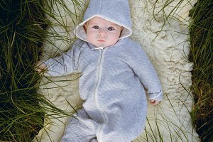 Cute baby in the enchanted forest