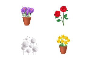 Floral elements icon set
