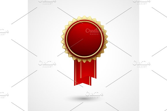 Red Color Vector Award Badge And Ribbon Premium Quality