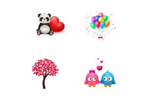 Love and childhood icon set