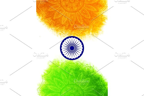 Creative Indian Independence Day Concept With Ashoka Wheel And Pattern In National Flag Tricolors