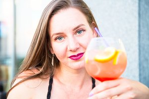 Female with sangria