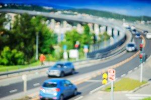 Traffic road bridge turn in Norway bokeh backdrop