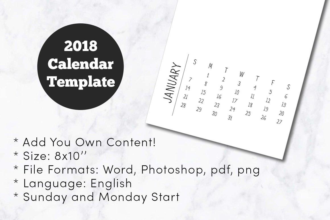 2018 Minimal Calendar Template 8x10 ~ Templates ~ Creative