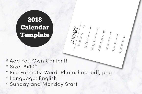 2018 Minimal Calendar Template 8x10