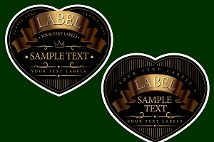 set of labels in the shape of hearts