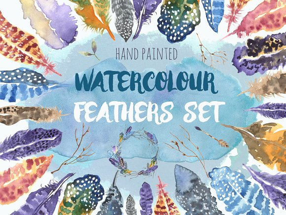Watercolour Feathers Graphic Set
