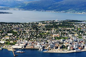 View on Tromso city from mountains background