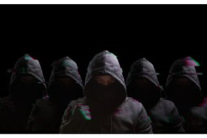 Many anonymous on black background