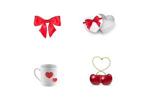 Valentines Day elements icon set