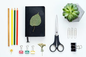 Artist design tools flat lay desktop