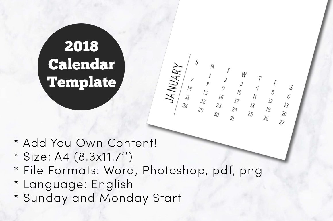 2018 Minimal Calendar Template A4 Templates Creative Market