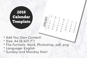 2018 Minimal Calendar Template A4