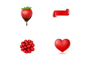 Valentines Day postcard elements icon set
