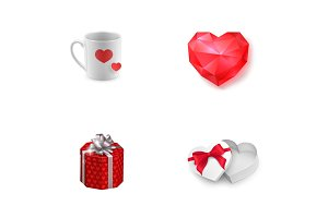 Valentines Day presents icon set