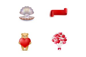 Valentines Day symbols icon set