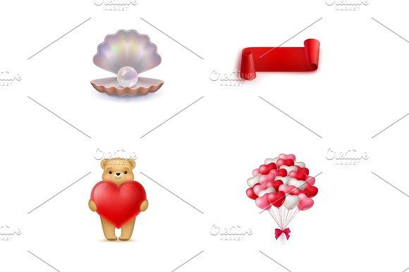 Valentines Day Symbols Icon Set