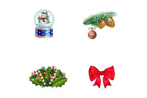 Winter holiday symbols icon set
