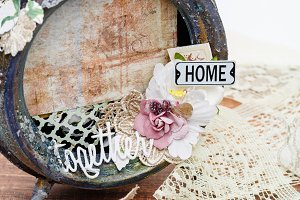 Handmade scrapbooking photo frame