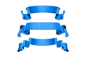 Blue Glossy vector ribbons set