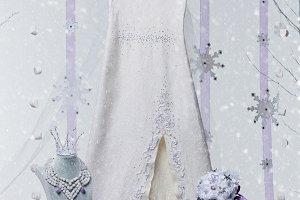 Set of beautiful natural stone bridal accessories