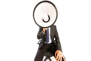 Man In Business Suit With Megaphone